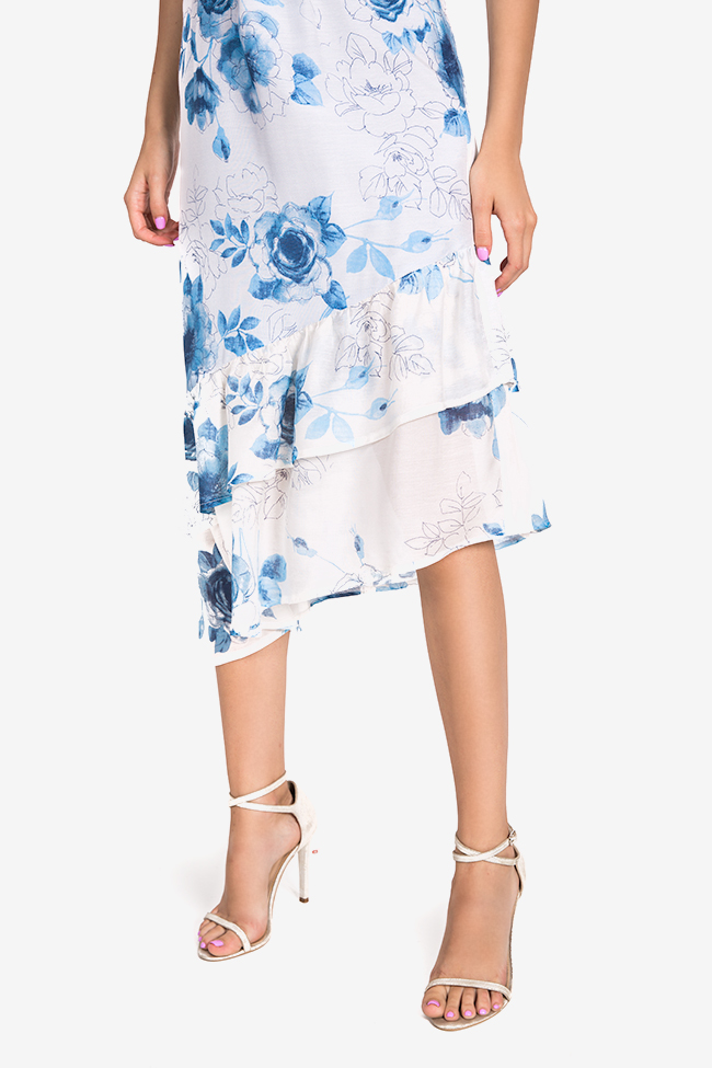 Hora floral-print asymmetric silk-blend midi dress DALB by Mihaela Dulgheru image 3
