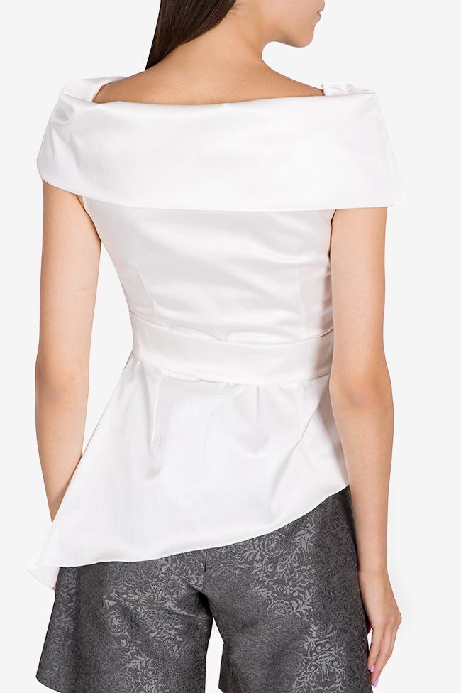 Bluza asimetrica din amestec de bumbac structurat DALB by Mihaela Dulgheru imagine 2