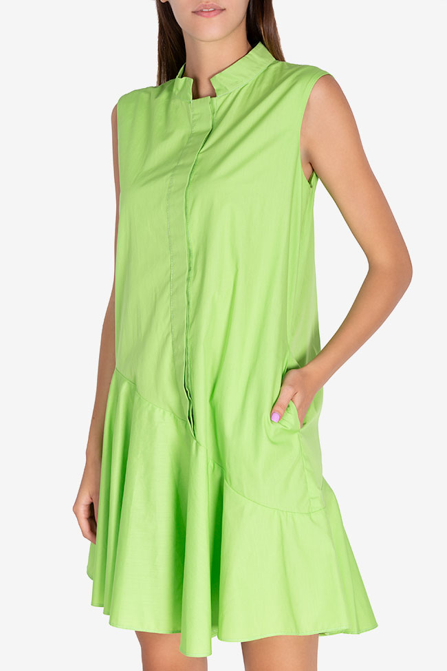 Robe asymétrique en popeline de coton Zania Framboise image 0