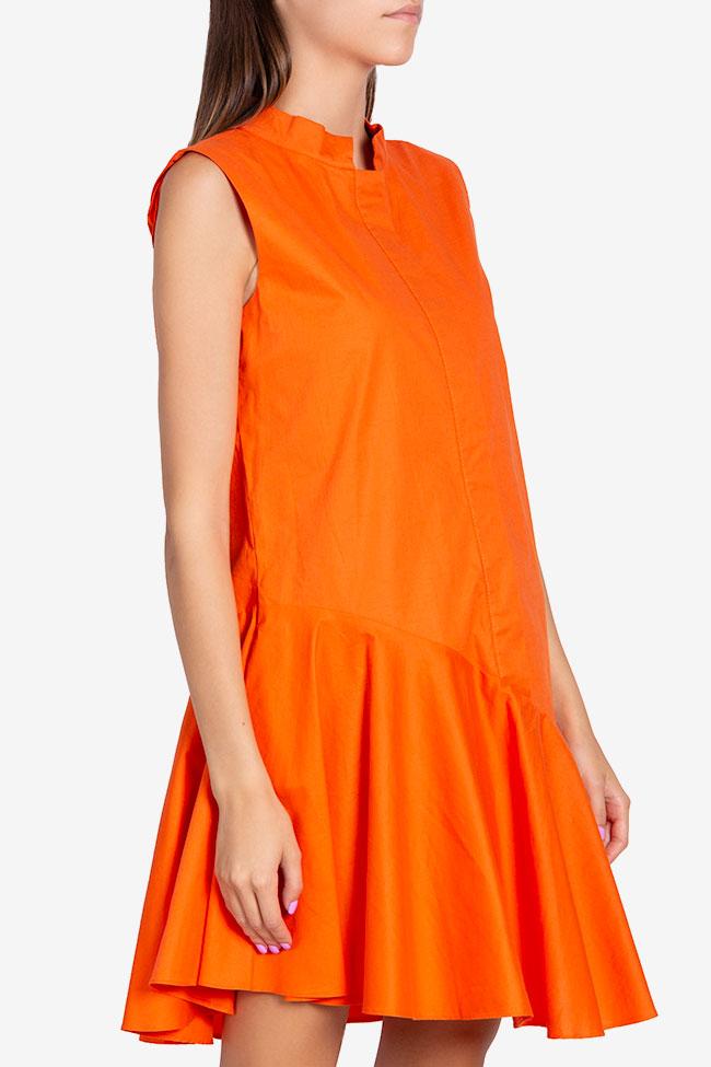 Robe asymétrique en popeline de coton Davina Framboise image 0