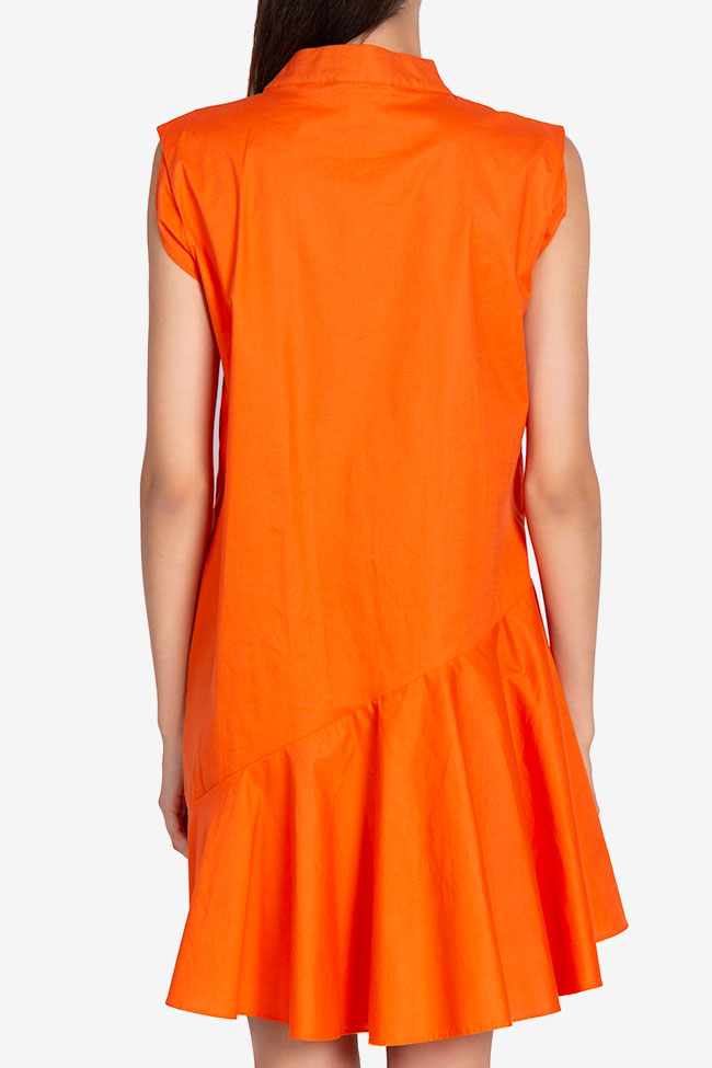 Robe asymétrique en popeline de coton Davina Framboise image 2