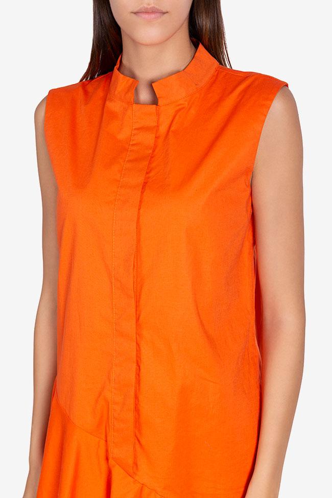 Robe asymétrique en popeline de coton Davina Framboise image 3