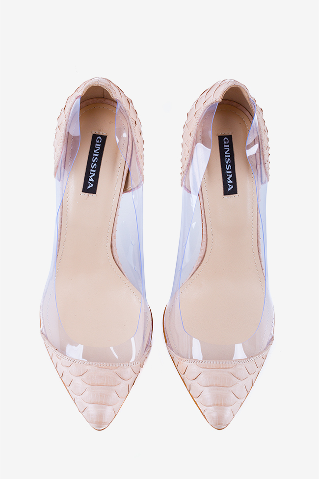 Chaussures en cuir de python et applications en PVC Alice90 Ginissima image 1