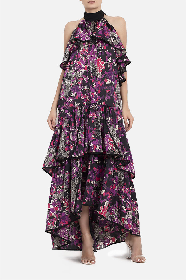 Open-back ruffled satin maxi dress BADEN 11 image 1