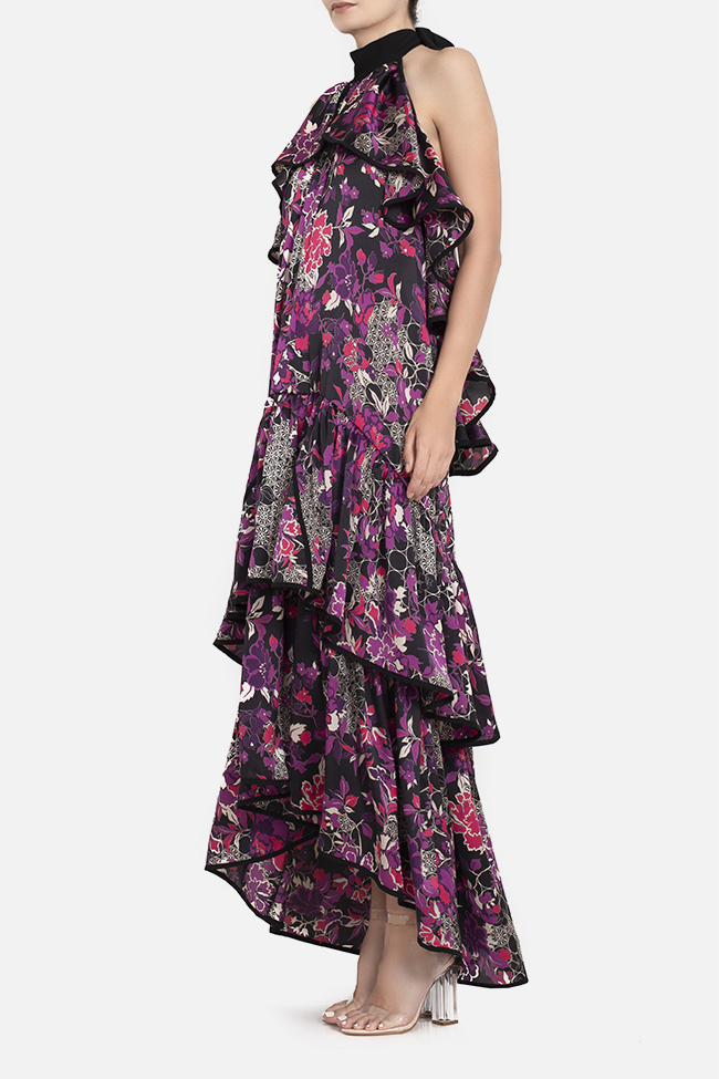 Open-back ruffled satin maxi dress BADEN 11 image 0