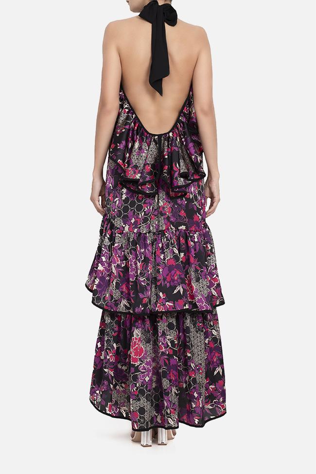 Open-back ruffled satin maxi dress BADEN 11 image 2
