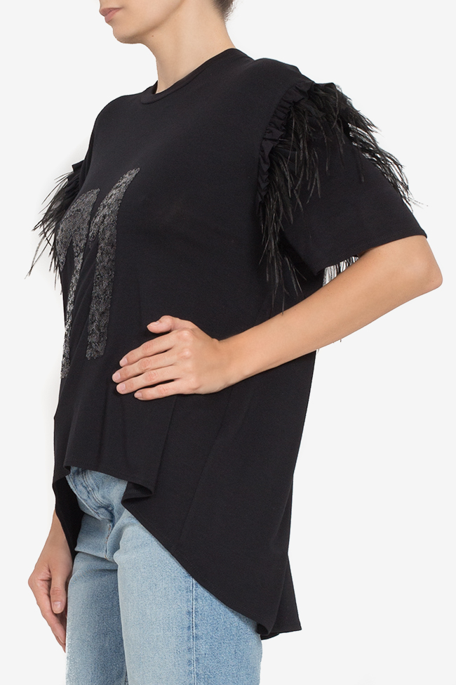 Asymmetric feather-trimmed cotton T-shirt BADEN 11 image 0