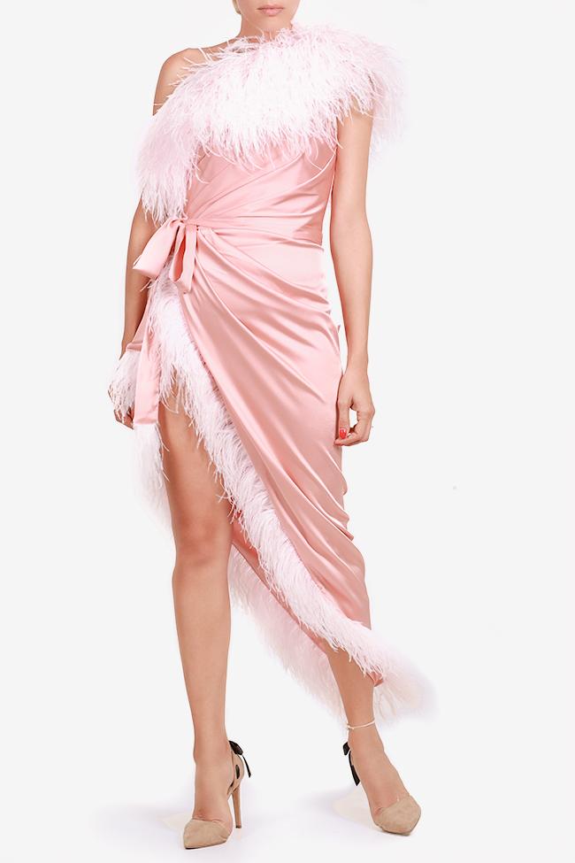 Robe asymétrique en satin avec applications de plumes Mirela Diaconu  image 0