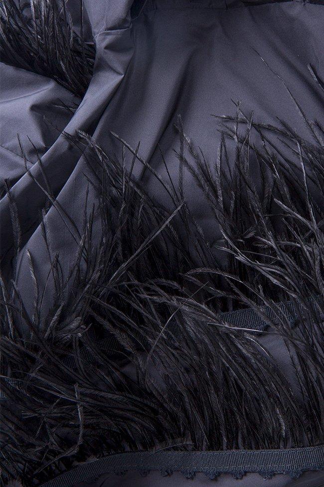 Bluza din tafta din amestec de bumbac si matase cu insertii din pene Claudia Castrase imagine 4