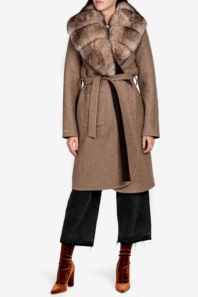 Palton din lana si alpaca cu guler din blana de vulpe Elora Ascott imagine 0