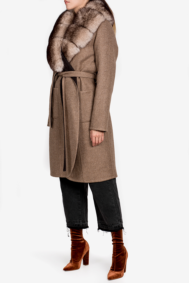 Palton din lana si alpaca cu guler din blana de vulpe Elora Ascott imagine 1