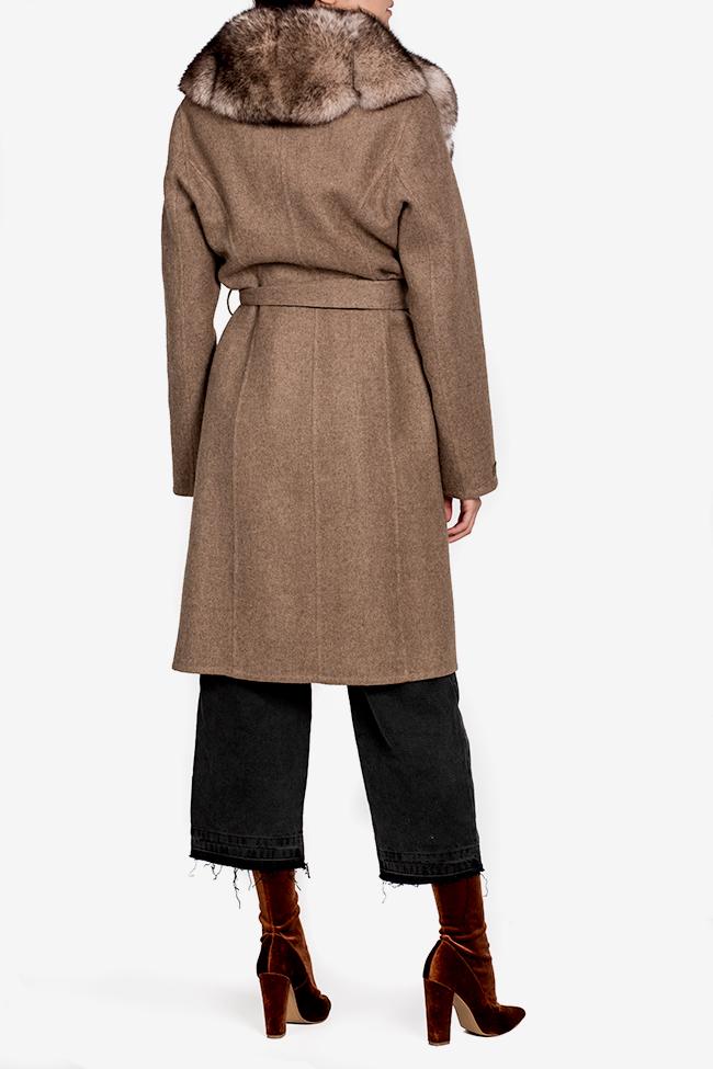 Palton din lana si alpaca cu guler din blana de vulpe Elora Ascott imagine 2