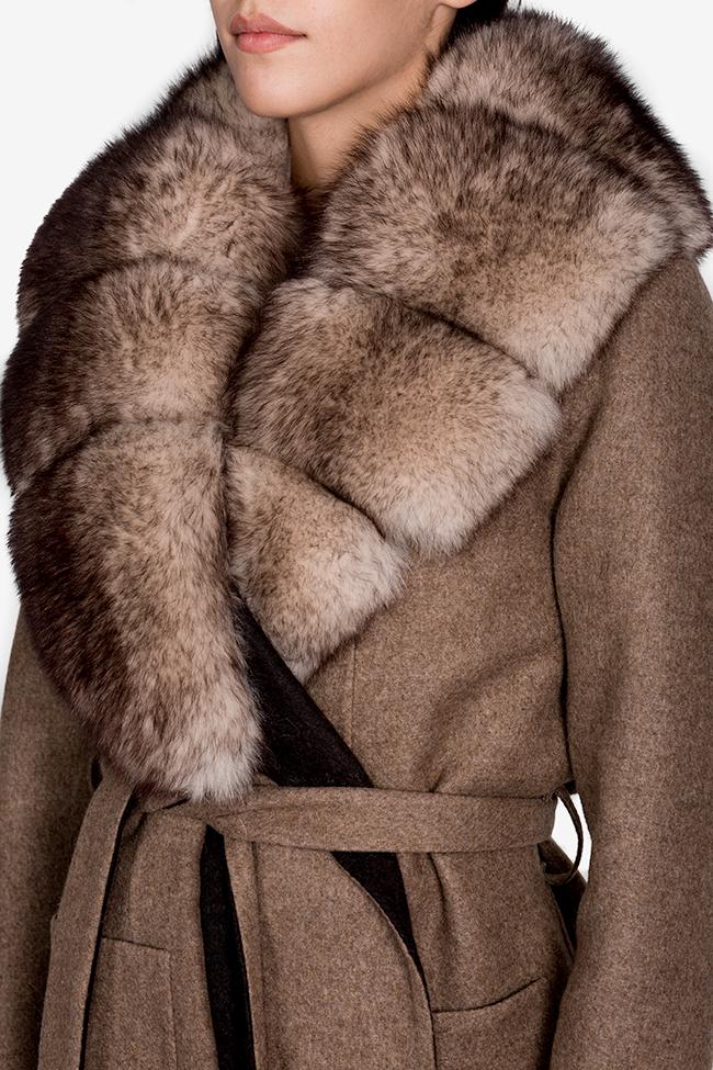 Palton din lana si alpaca cu guler din blana de vulpe Elora Ascott imagine 3