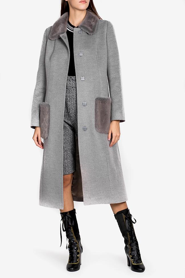 Mink fur wool and cashmere-blend coat Elora Ascott image 1