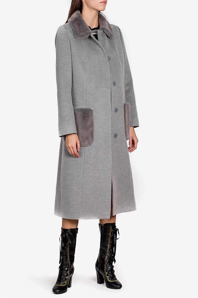 Mink fur wool and cashmere-blend coat Elora Ascott image 0