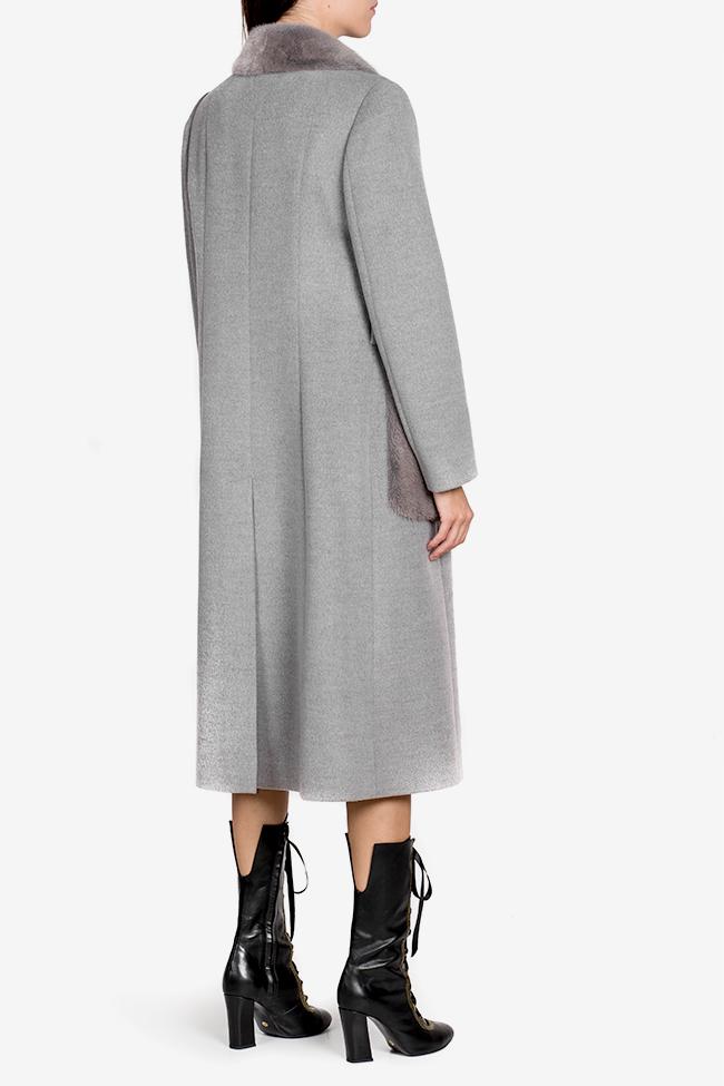 Mink fur wool and cashmere-blend coat Elora Ascott image 2