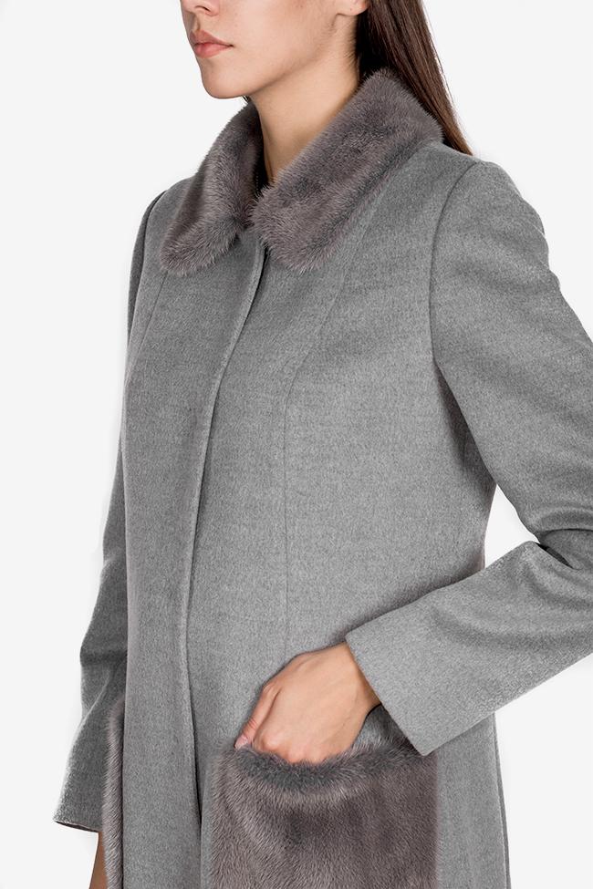 Mink fur wool and cashmere-blend coat Elora Ascott image 3