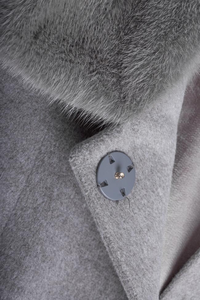 Mink fur wool and cashmere-blend coat Elora Ascott image 4