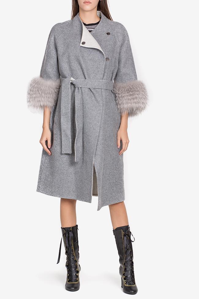 Manteau en mélange de laine et alpaga orné de fourrure Elora Ascott image 1