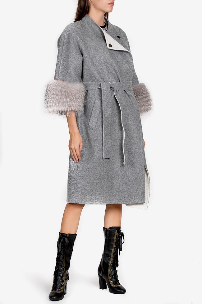 Manteau en mélange de laine et alpaga orné de fourrure Elora Ascott image 0