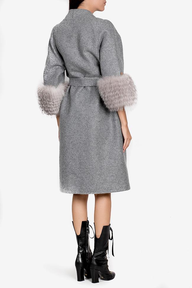 Manteau en mélange de laine et alpaga orné de fourrure Elora Ascott image 2