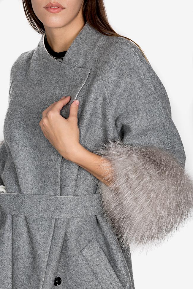 Manteau en mélange de laine et alpaga orné de fourrure Elora Ascott image 3