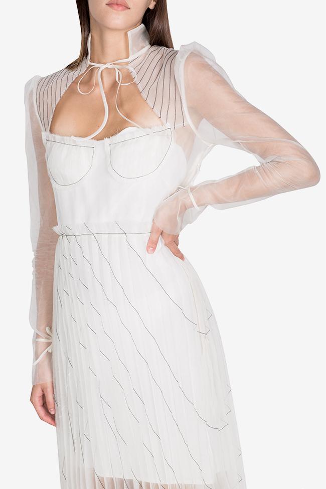 Rochie plisata din organza de matase cu cusaturi grafice LUWA imagine 3