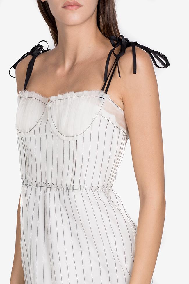 Rochie plisata din organza de matase cu broderie cusuta manual LUWA imagine 3
