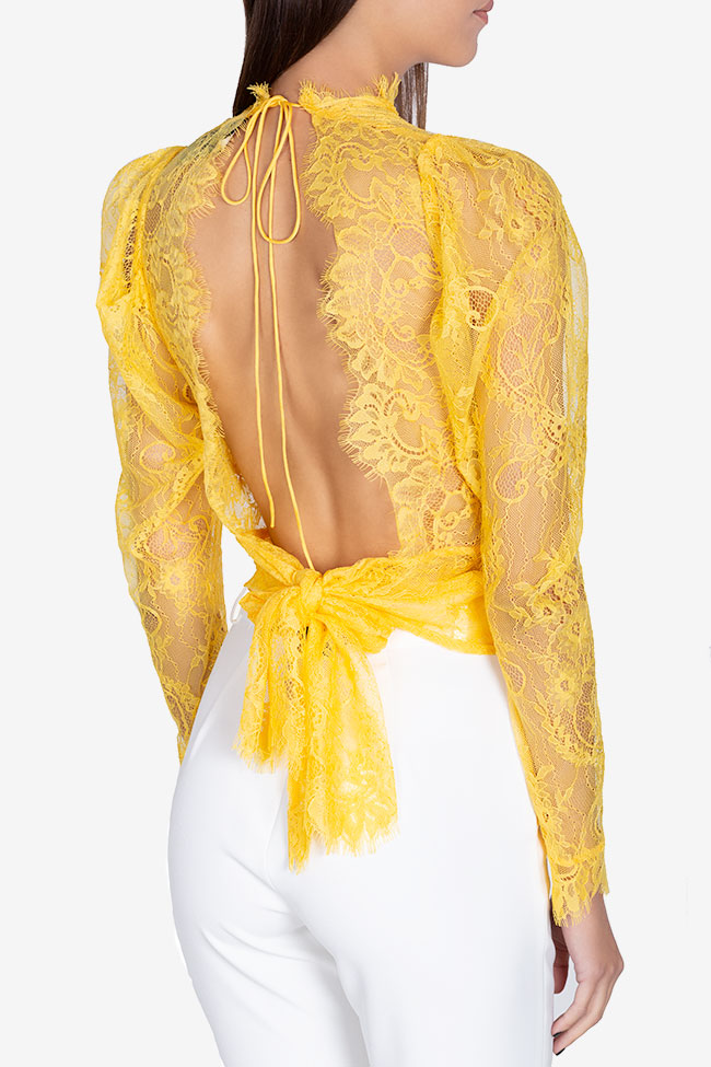 Bluza din dantela cu spatele gol Victoria Arllabel Golden Brand imagine 2