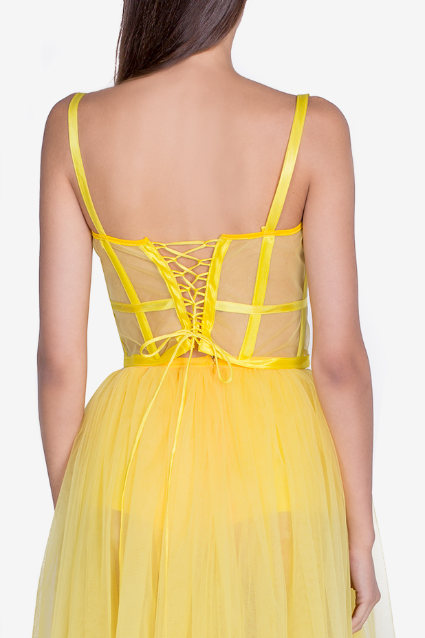 Cropped embroidered tulle bustier top Arllabel Golden Brand image 3