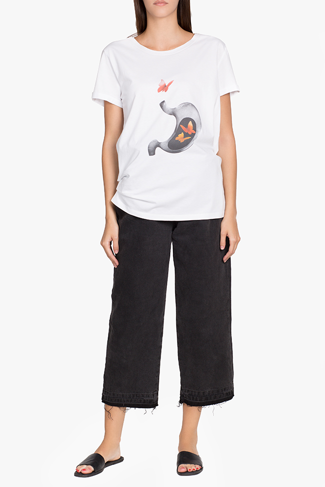 Tricou din bumbac cu imprimeu digital Larisa Dragna imagine 1