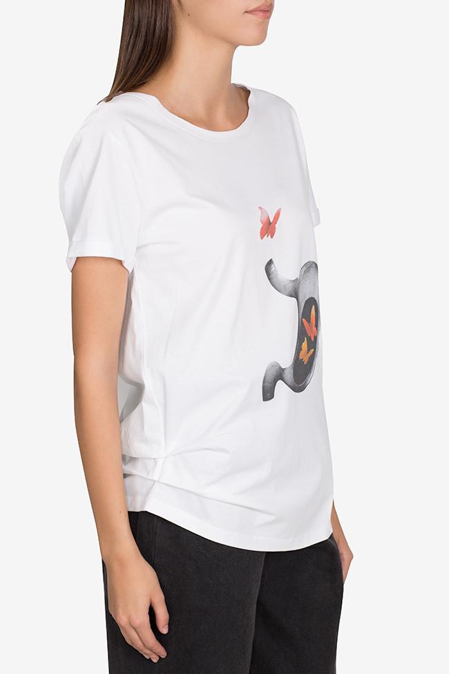 Tricou din bumbac cu imprimeu digital Larisa Dragna imagine 0