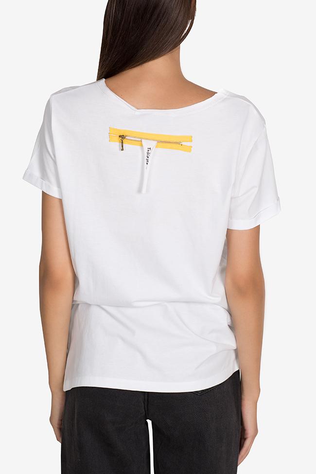 Tricou din bumbac cu imprimeu digital Larisa Dragna imagine 2