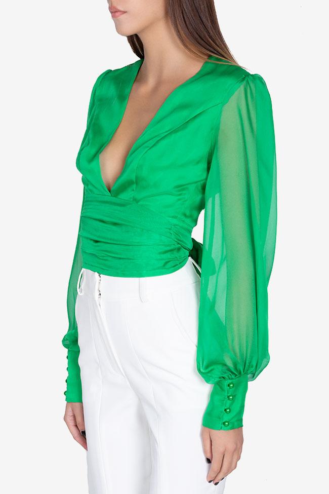 Bluza din voal din amestec de matase Anka Arllabel Golden Brand imagine 0
