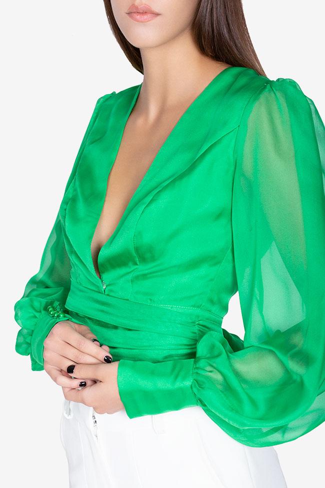 Bluza din voal din amestec de matase Anka Arllabel Golden Brand imagine 3