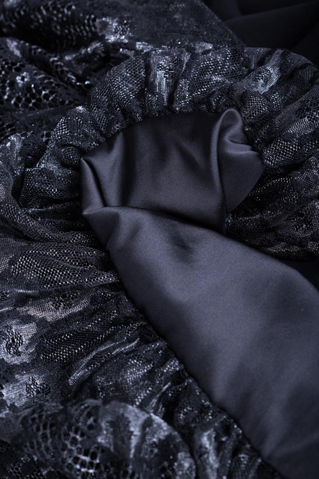 Rochie din crep imperial cu insertii din dantela  Hard Coeur imagine 4