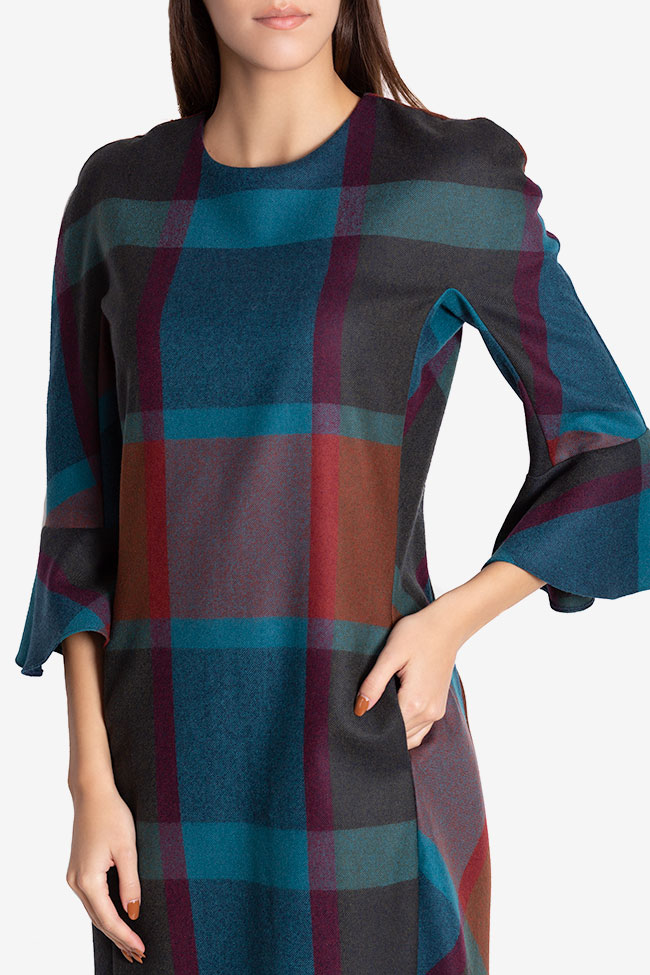 Rochie mini din stofa din amestec de lana Louisa Couture de Marie imagine 3