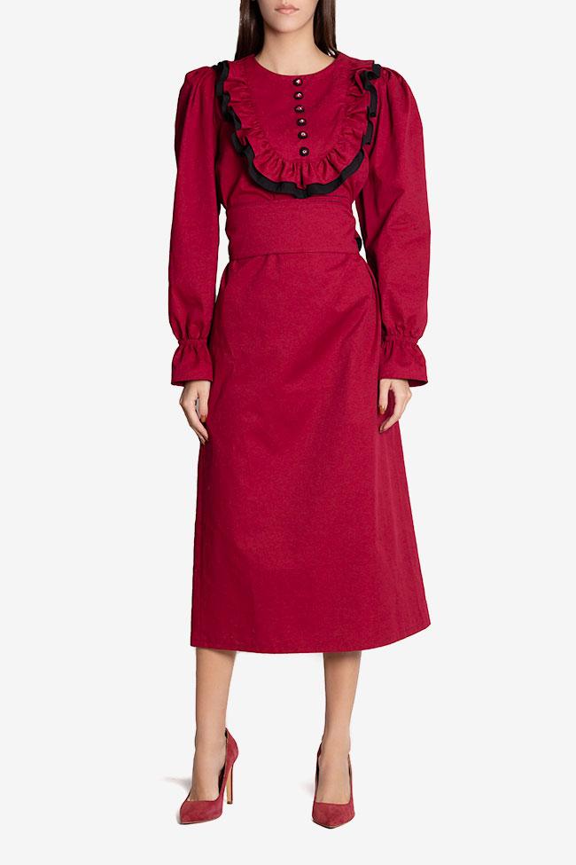 Ruffled belted cotton midi dress Nicoleta Obis image 1