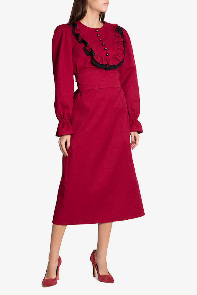 Ruffled belted cotton midi dress Nicoleta Obis image 0