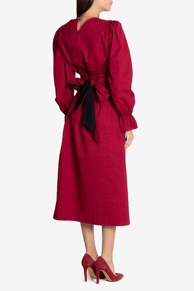 Ruffled belted cotton midi dress Nicoleta Obis image 2