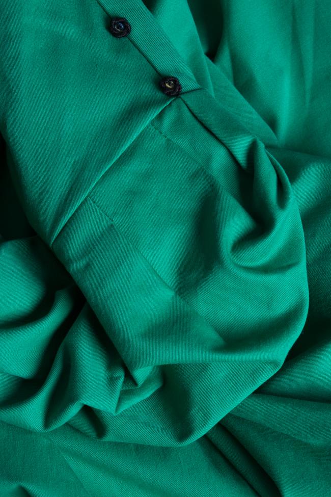 Rochie midi din stofa de bumbac cu esarfa din voal Nicoleta Obis imagine 4