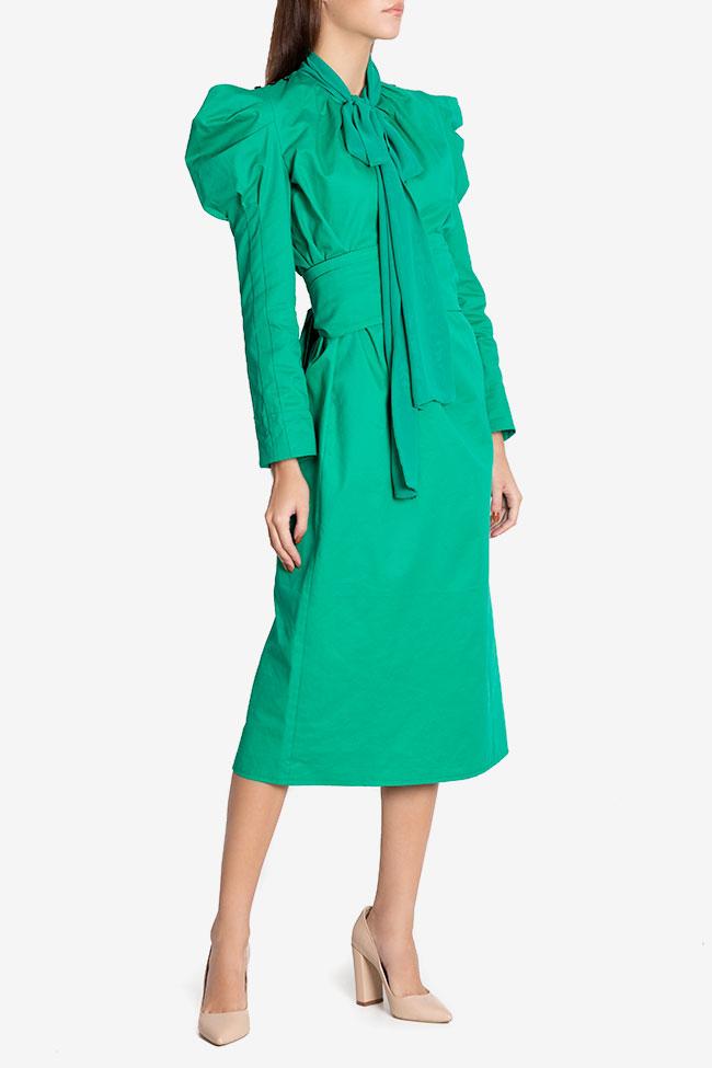 Robe midi en coton avec écharpe en voile Nicoleta Obis image 0