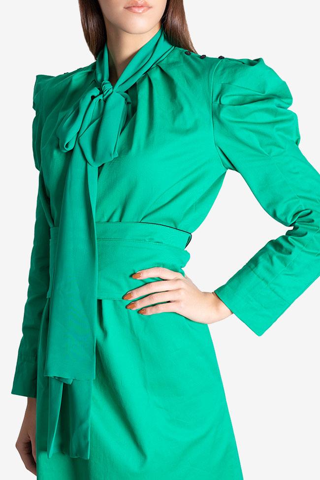 Rochie midi din stofa de bumbac cu esarfa din voal Nicoleta Obis imagine 3