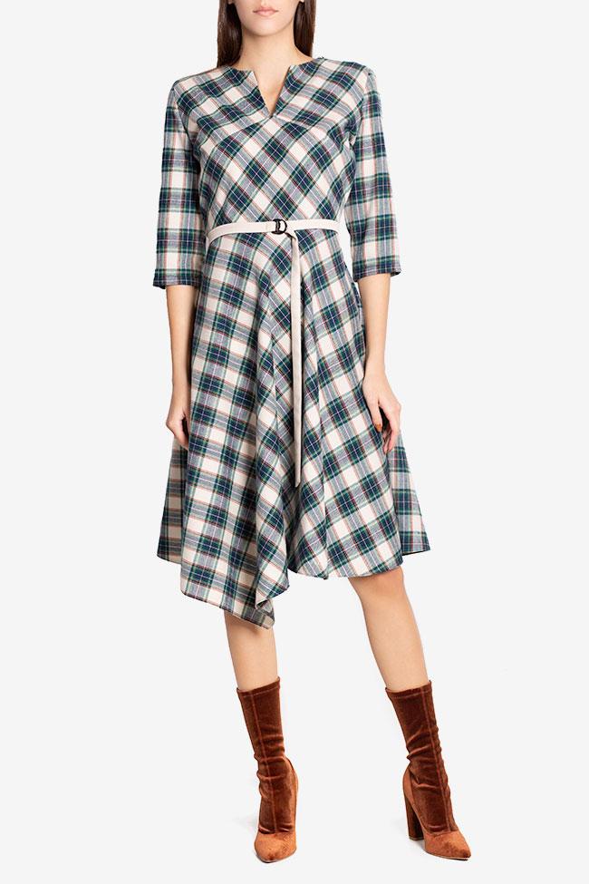 Martha asymmetric checked wool midi dress Couture de Marie image 1