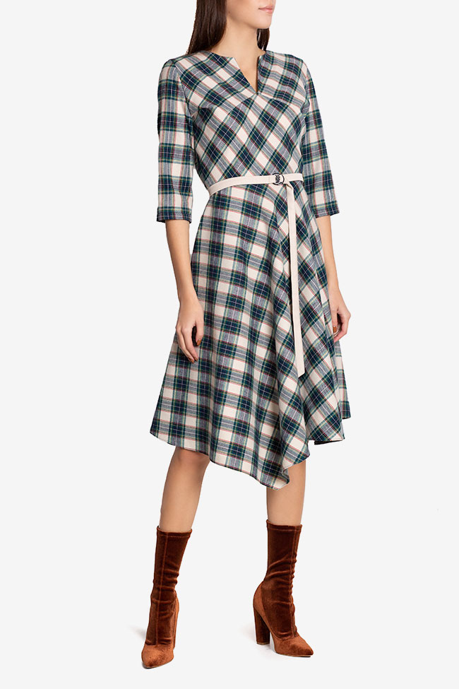 Martha asymmetric checked wool midi dress Couture de Marie image 0