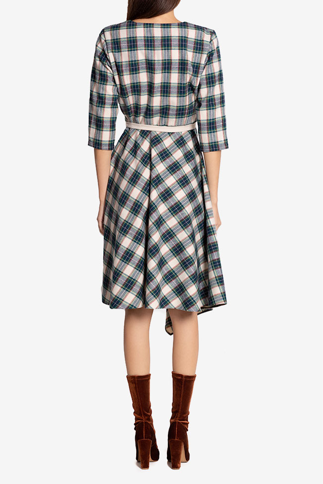 Martha asymmetric checked wool midi dress Couture de Marie image 2