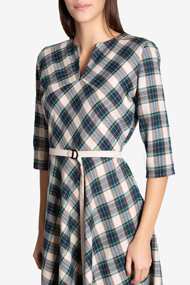 Martha asymmetric checked wool midi dress Couture de Marie image 3