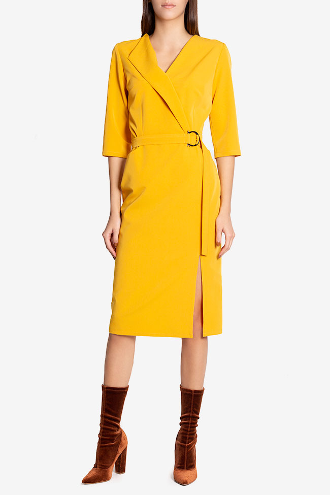 Amira wrap-effect belted crepe midi dress Couture de Marie image 1