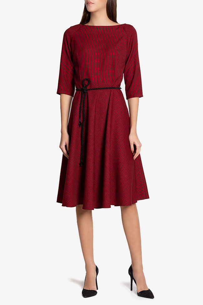 Jamie belted checked wool-blend midi dress Couture de Marie image 1