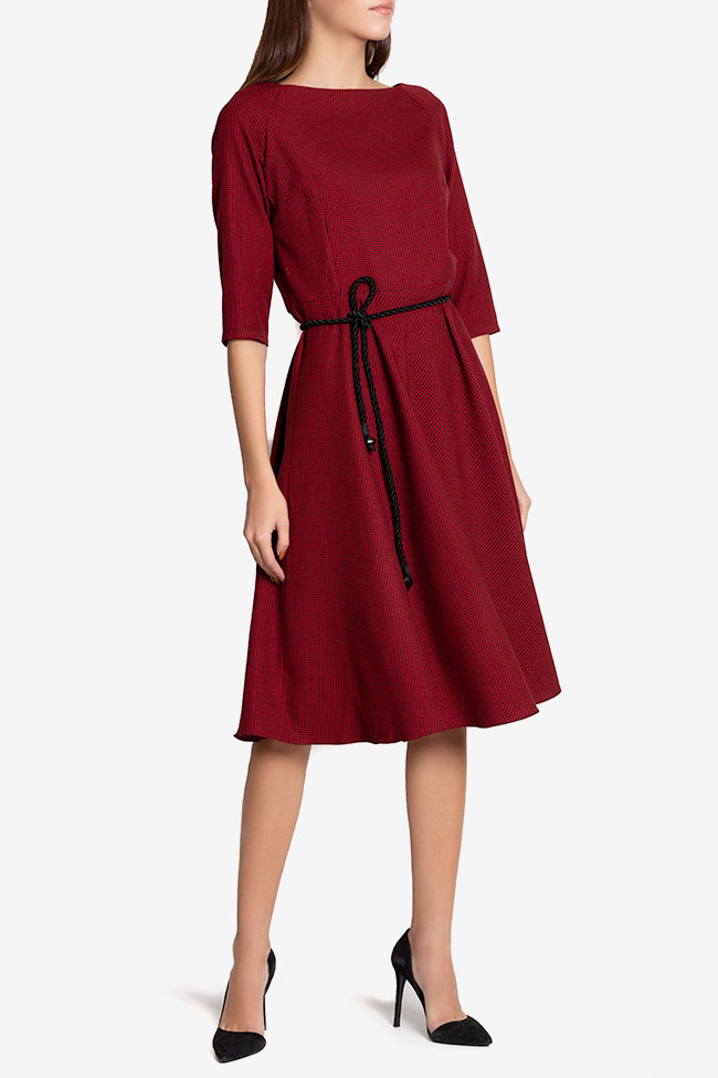 Jamie belted checked wool-blend midi dress Couture de Marie image 0